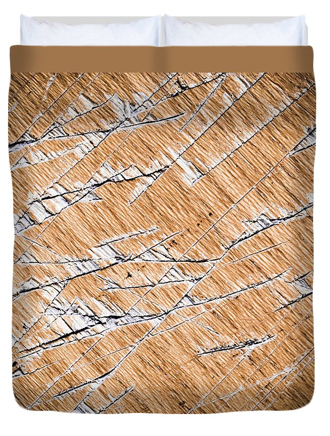 Dirty Duvet Cover featuring the photograph Chopped Up Veneered Wood Board by Jozef Jankola