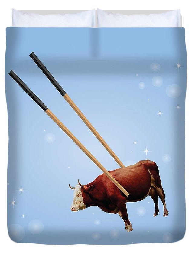 Chopsticks Duvet Cover featuring the digital art Chopsticks Cow Blue Stars by Reggie Hart