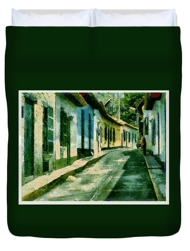 Choroni Venezuela House digital Paint Duvet Cover featuring the photograph Choroni - Venezuela by Galeria Trompiz