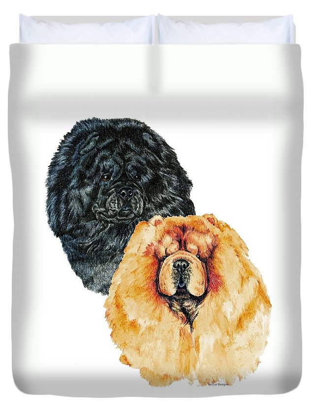 Chow Chow Duvet Cover featuring the painting Chow Chows by Kathleen Sepulveda