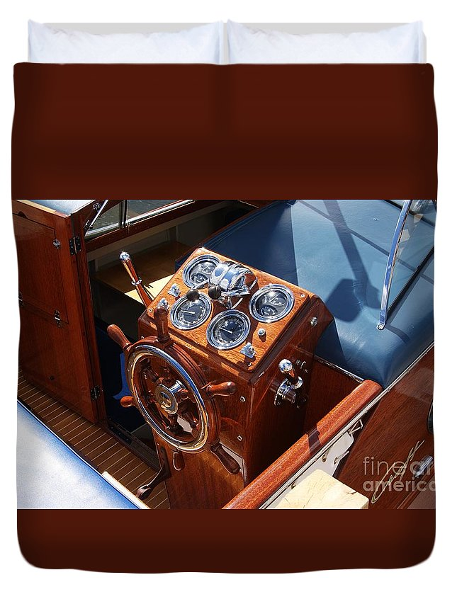 Boat Duvet Cover featuring the photograph Chris Craft Cruiser by Neil Zimmerman