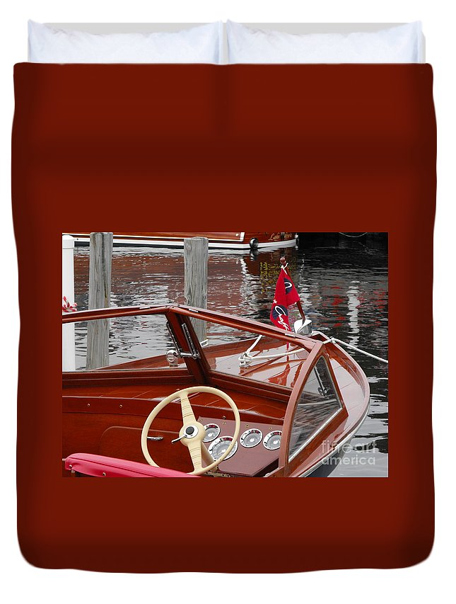 Wooden Boat Duvet Cover featuring the photograph Chris Craft Sea Skiff by Neil Zimmerman
