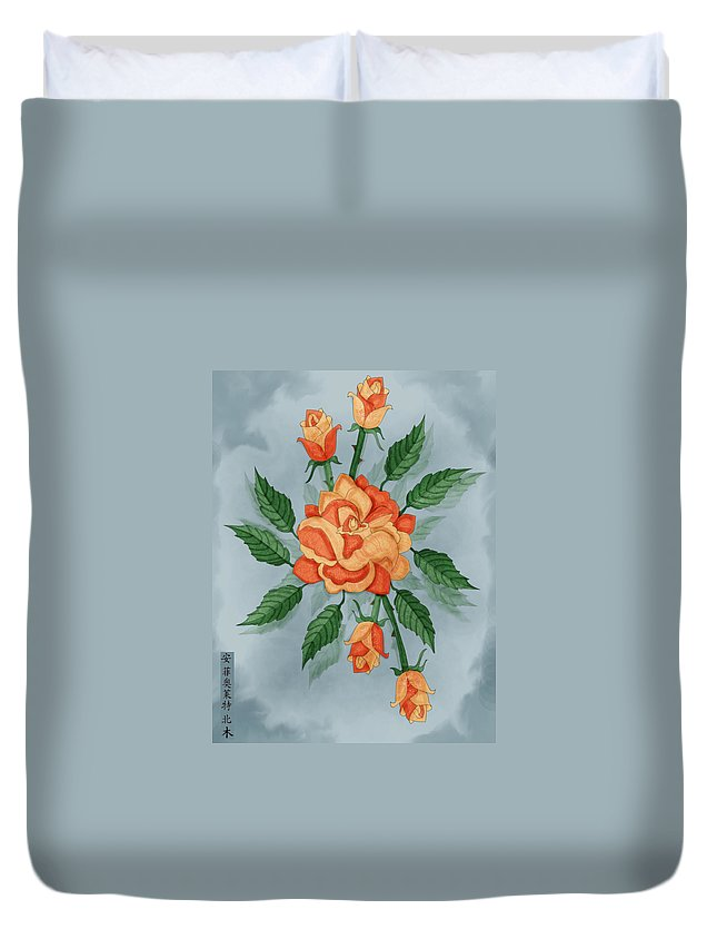 Floral Duvet Cover featuring the painting Christ And The Disciples Roses by Anne Norskog
