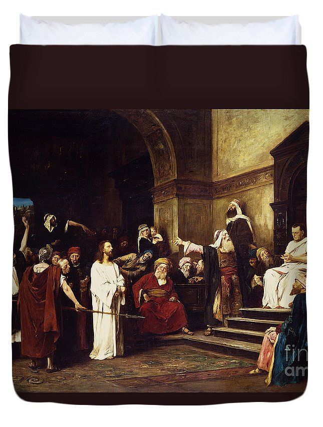 Christ Duvet Cover featuring the painting Christ Before Pilate by Mihaly Munkacsy