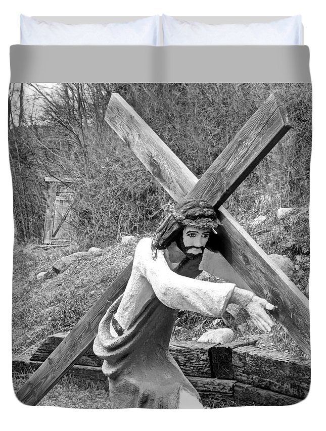 Christ Duvet Cover featuring the photograph Christ Carrying Cross, Vadito, New Mexico, March 30, 2016 by Mark Goebel