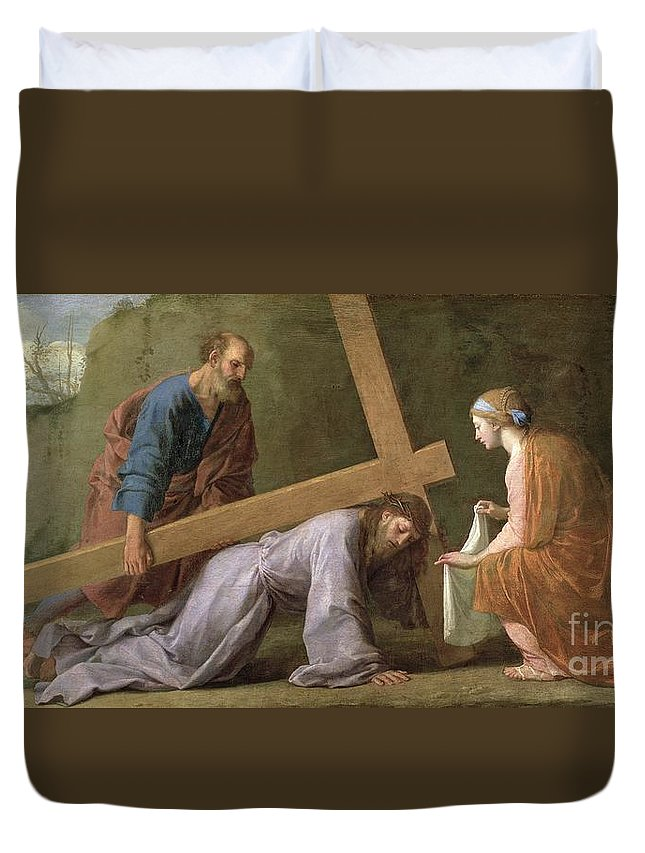 Christ Duvet Cover featuring the painting Christ Carrying The Cross by Eustache Le Sueur