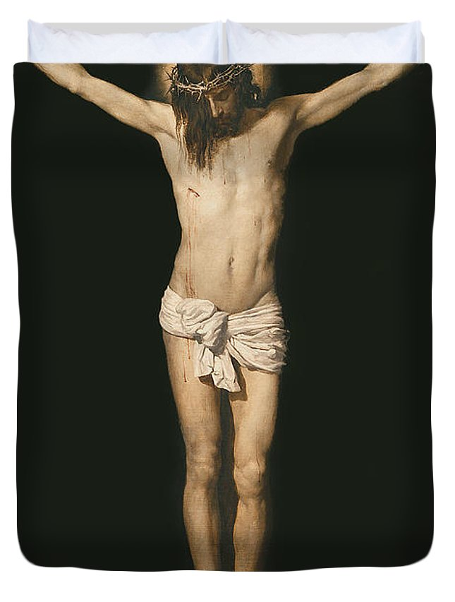 Son Of God Duvet Cover featuring the painting Christ On The Cross by Diego Velasquez