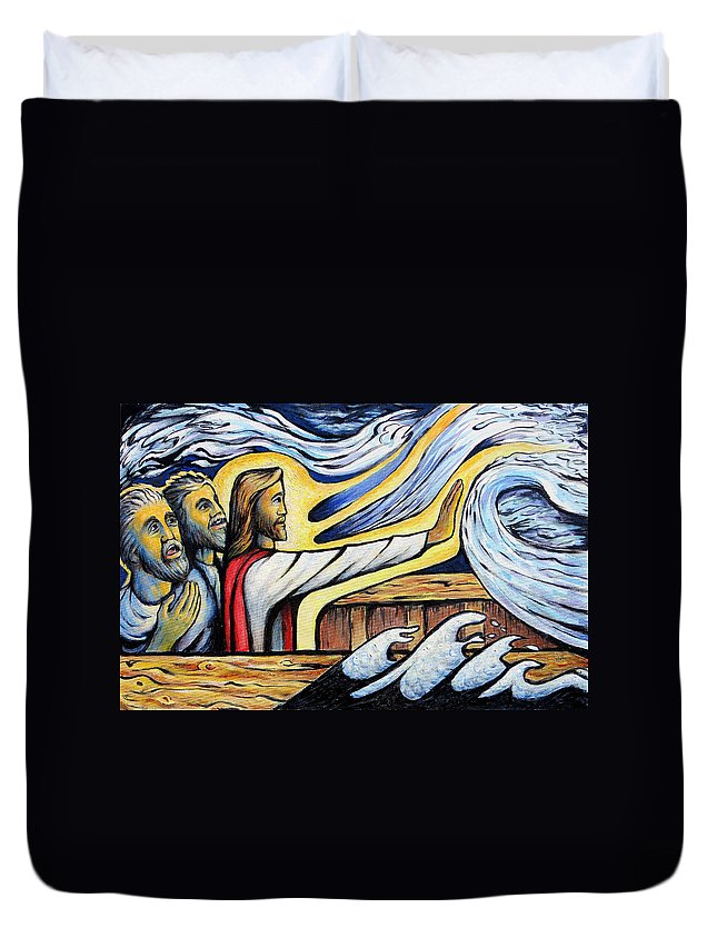 Jesus Duvet Cover featuring the painting Christ Rebukes The Wind And Waves by Daniel Jimick