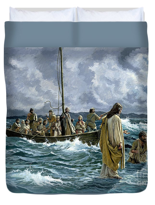 Christ Duvet Cover featuring the painting Christ Walking On The Sea Of Galilee by Anonymous