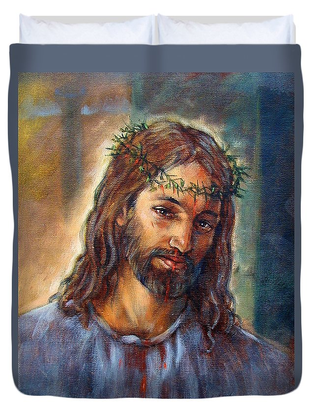 Christ Duvet Cover featuring the painting Christ With Thorns by John Lautermilch