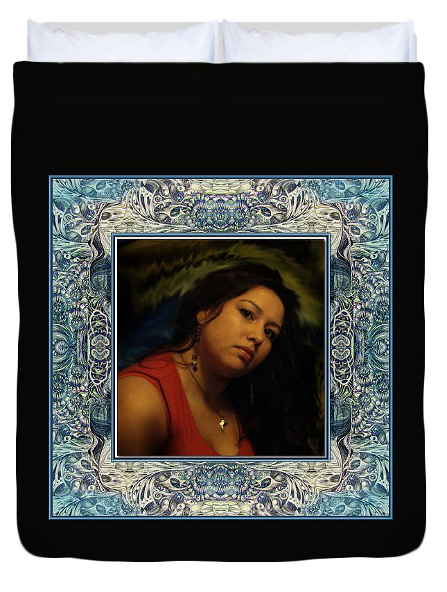 Portrait Glamour Fantasy Muse Duvet Cover featuring the digital art Christan Cameo by Otto Rapp