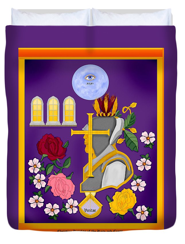 Christian Duvet Cover featuring the painting Christian Knights Of The Cross And Rose by Anne Norskog
