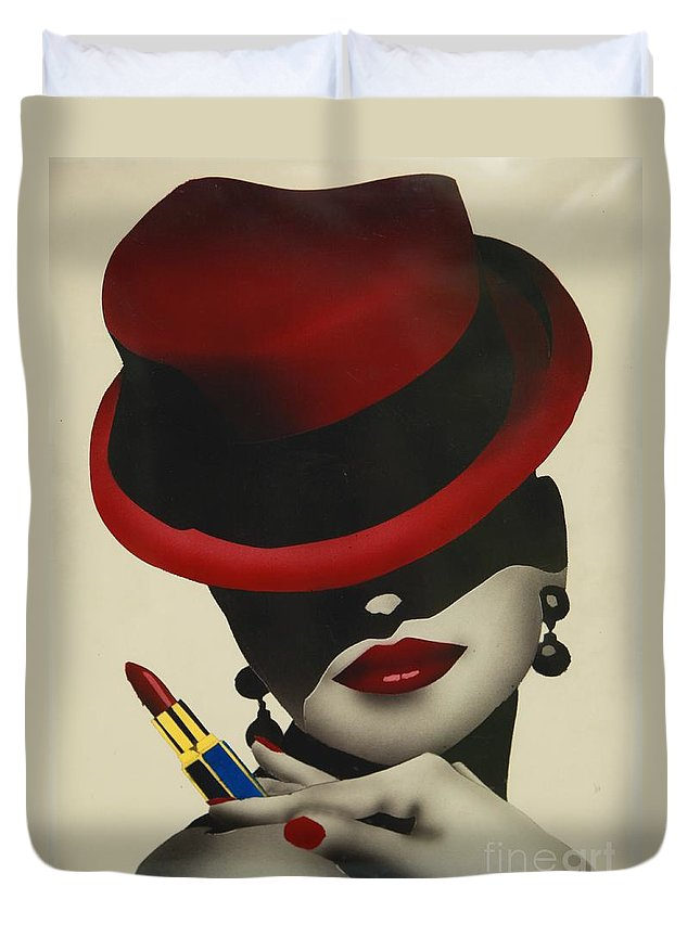 Christion Dior Red Hat Lady Duvet Cover featuring the painting Christion Dior Red Hat Lady by Jacqueline Athmann