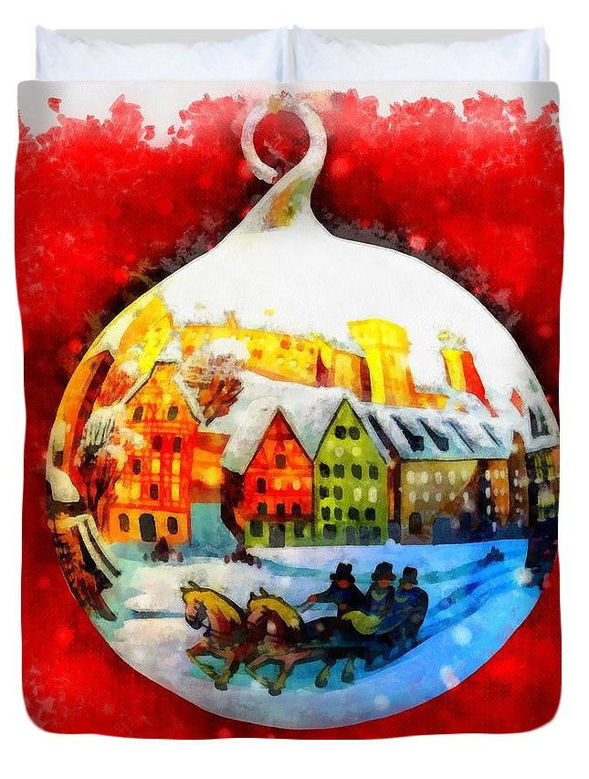 Christmas Duvet Cover featuring the painting Christmas Ball Ball by Esoterica Art Agency
