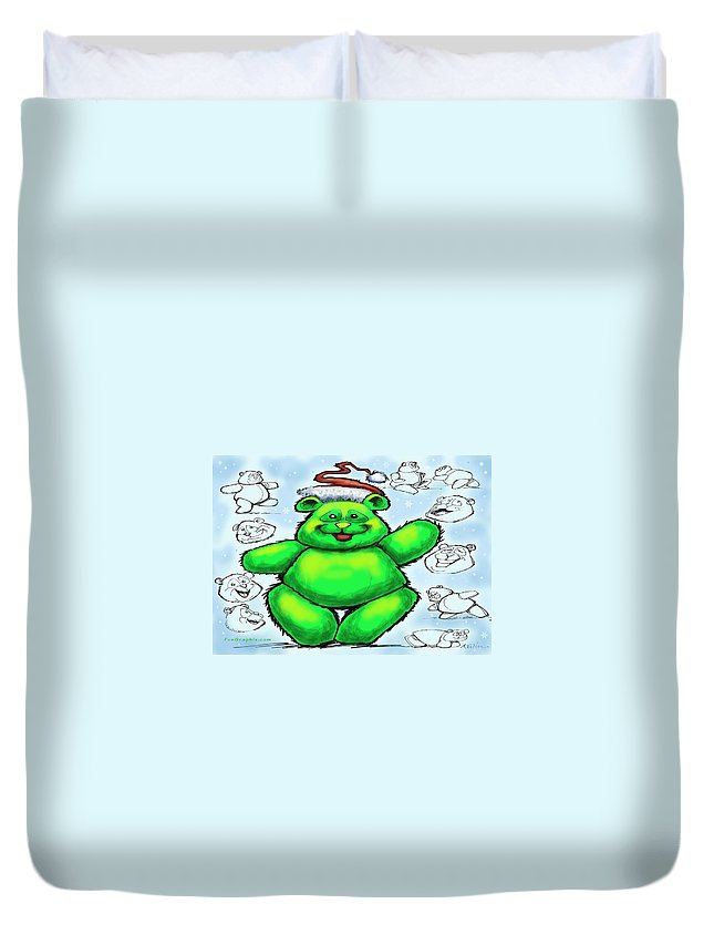 Christmas Duvet Cover featuring the greeting card Christmas Bear by Kevin Middleton