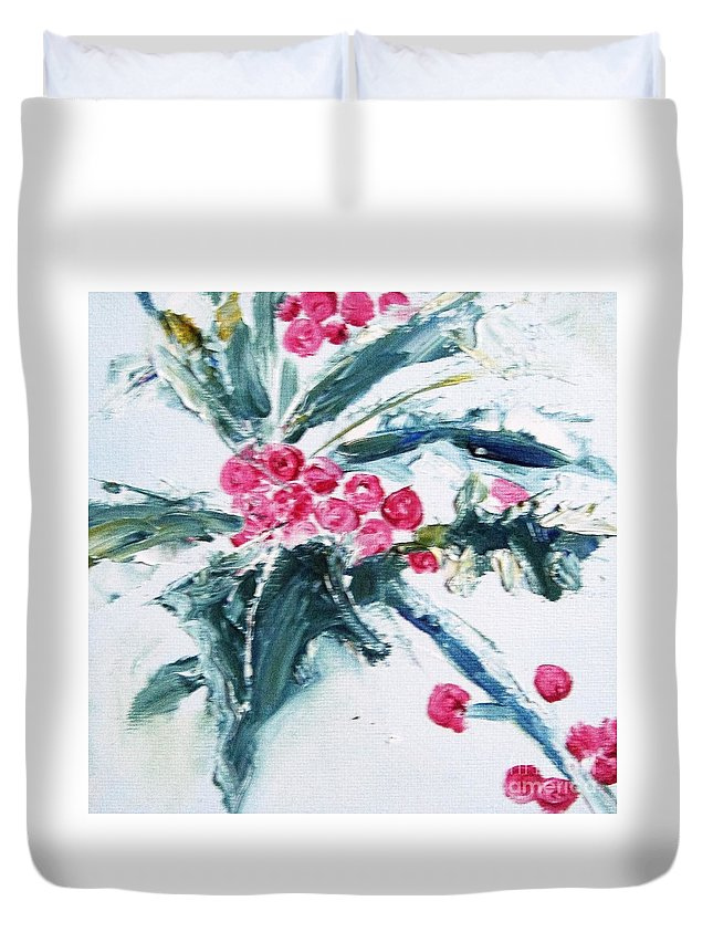 Holly Duvet Cover featuring the painting Christmas Berries by Angela Cartner