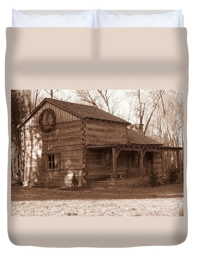Cabin Duvet Cover featuring the photograph Christmas Cabin by Shelley Wilson