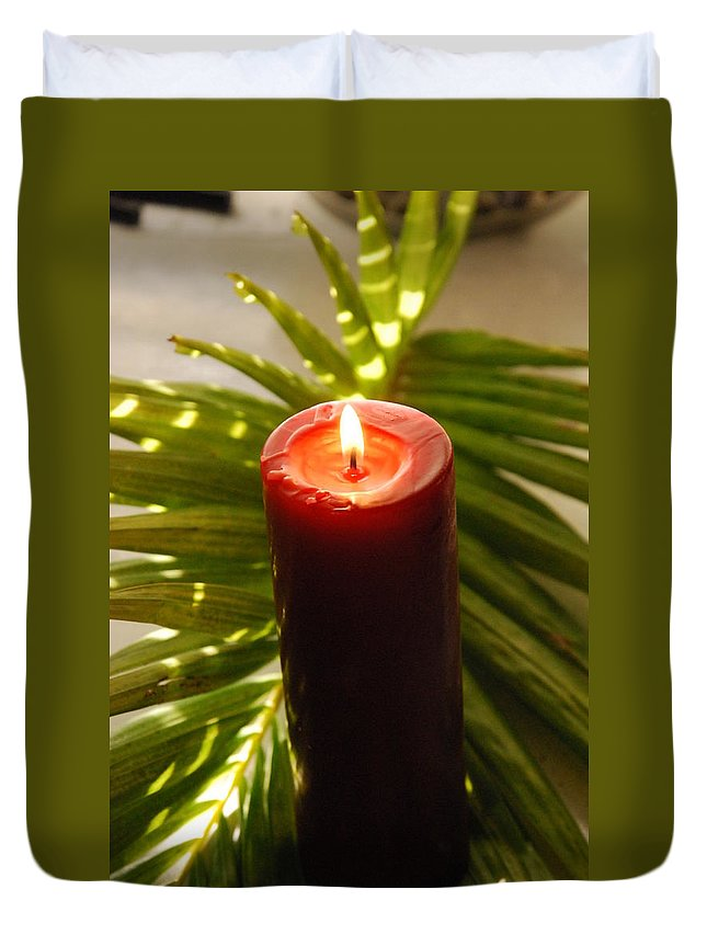 Candle Duvet Cover featuring the photograph Christmas Candle 2 by Susanne Van Hulst