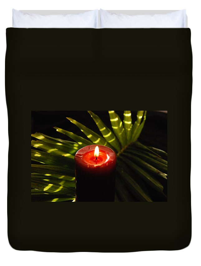 Candle Duvet Cover featuring the photograph Christmas Candle by Susanne Van Hulst