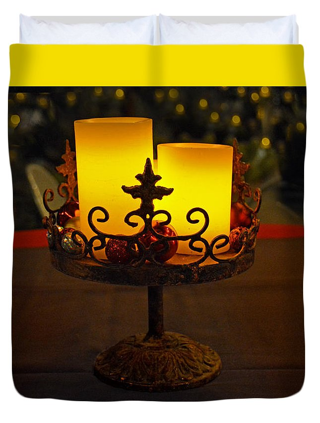 Christmas Duvet Cover featuring the photograph Christmas Candles by Martin Massari