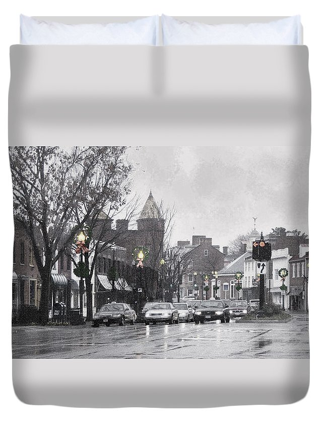 City Duvet Cover featuring the photograph Christmas City Street by Francesa Miller