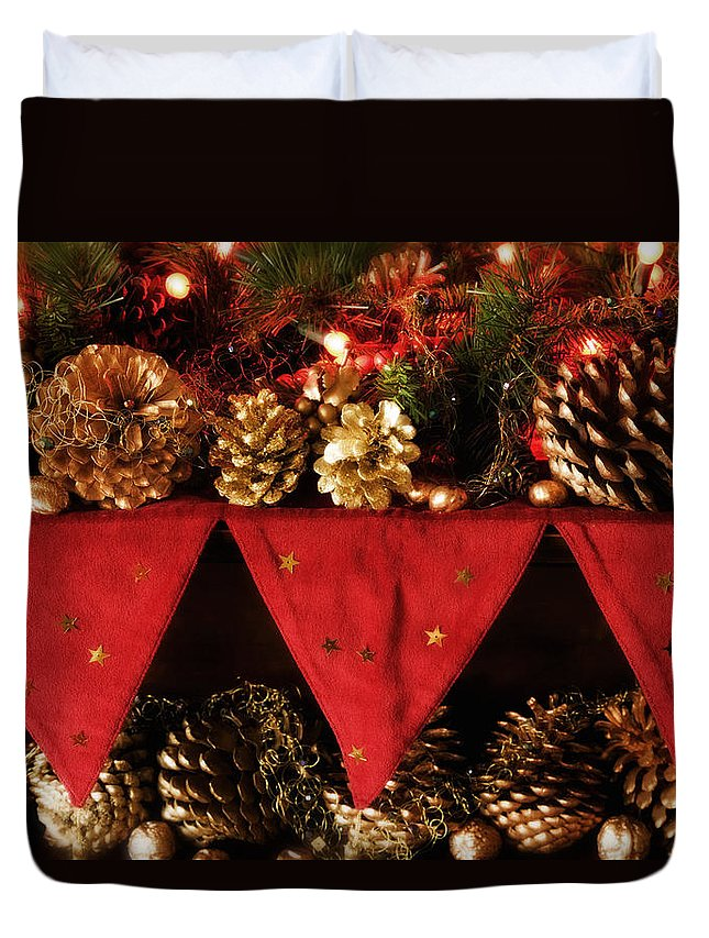 Christmas Duvet Cover featuring the photograph Christmas Decorations Of Garlands And Pine Cones by Mal Bray