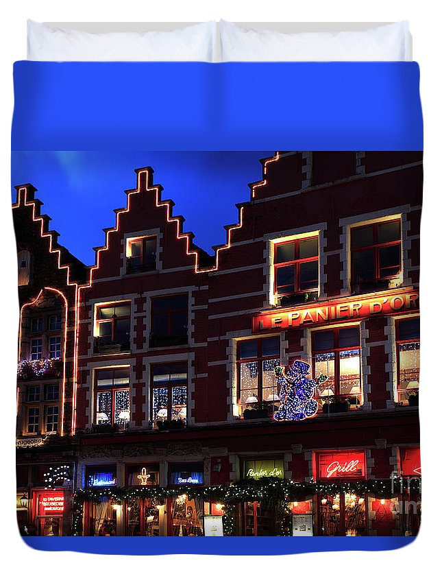 Christmas Decorations Duvet Cover featuring the photograph Christmas Decorations On Buildings In Bruges City by Dave Porter