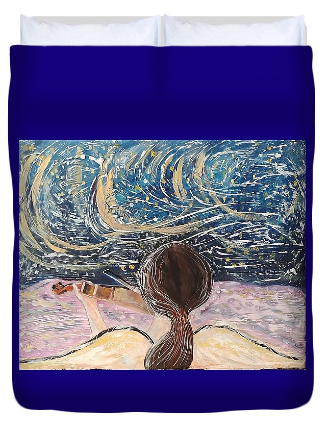 Angel Duvet Cover featuring the painting christmas Eve and a Starry Night by J Bauer