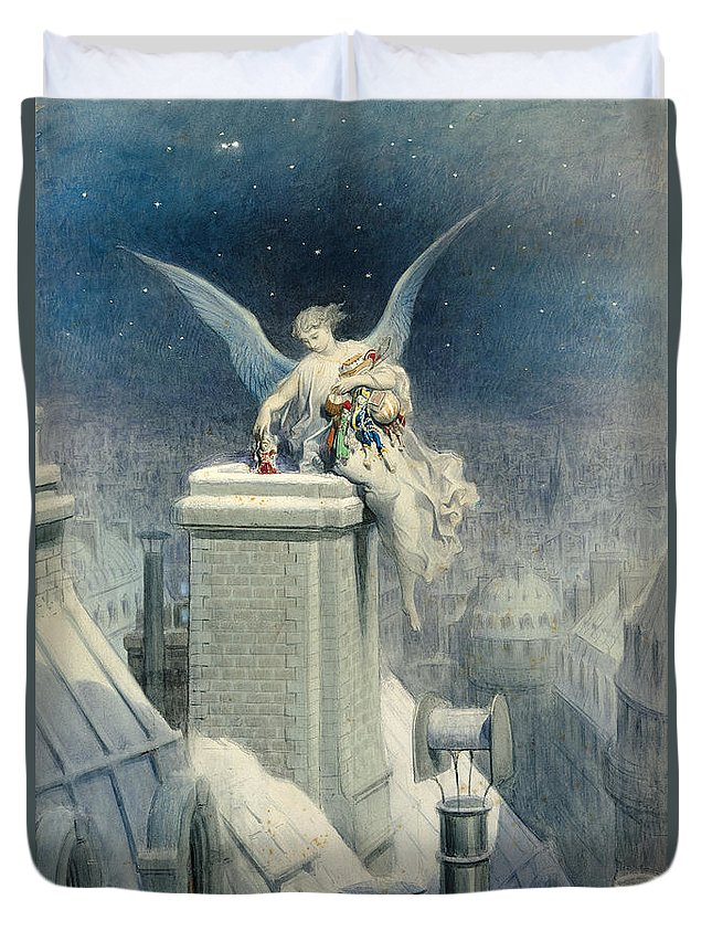 Christmas Duvet Cover featuring the painting Christmas Eve by Gustave Dore