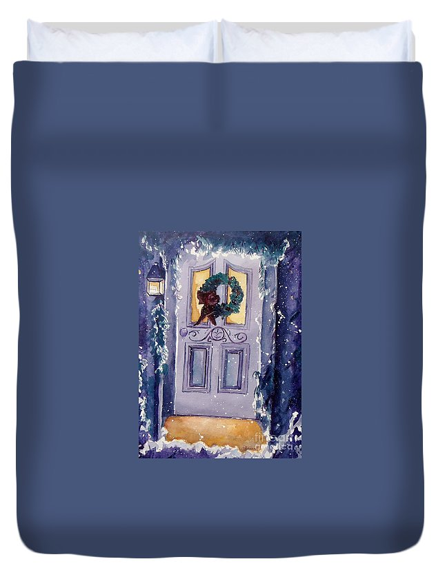 Holiday Scene Duvet Cover featuring the painting Christmas Eve by Jan Bennicoff