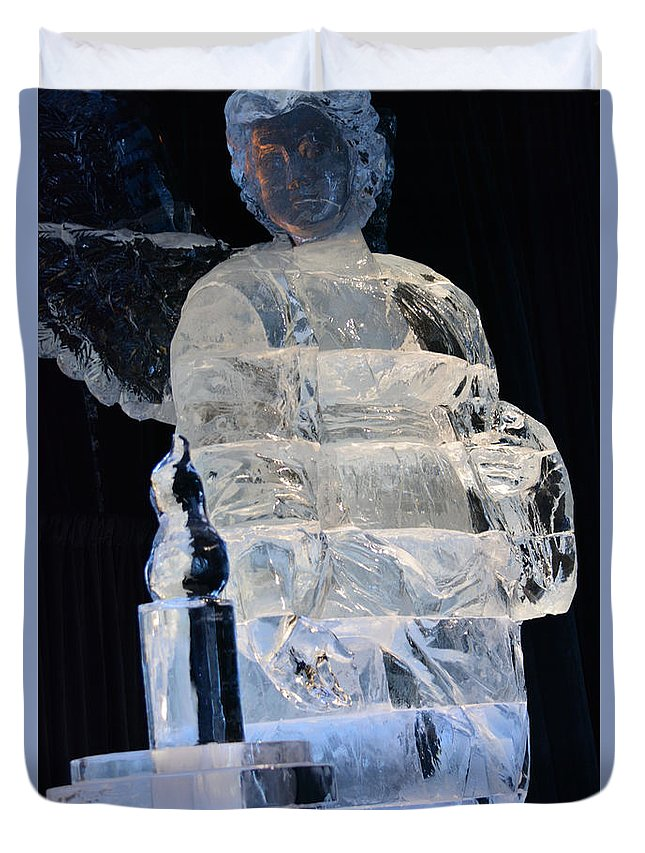 Christmas Ice Sculpture Angel Prints Duvet Cover featuring the photograph Christmas Ice Sculpture Angel by Ruth Housley
