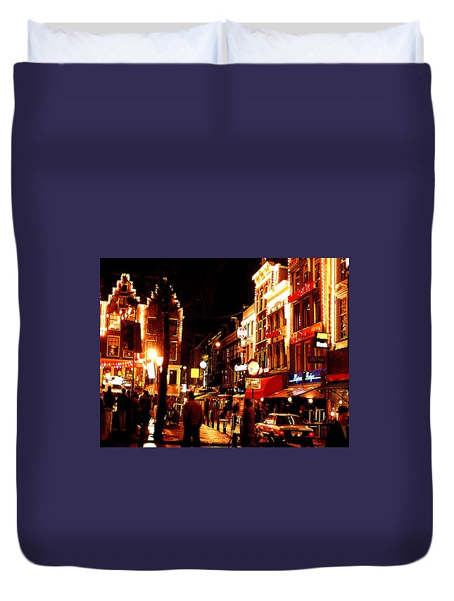 Night Duvet Cover featuring the photograph Christmas In Amsterdam by Nancy Mueller