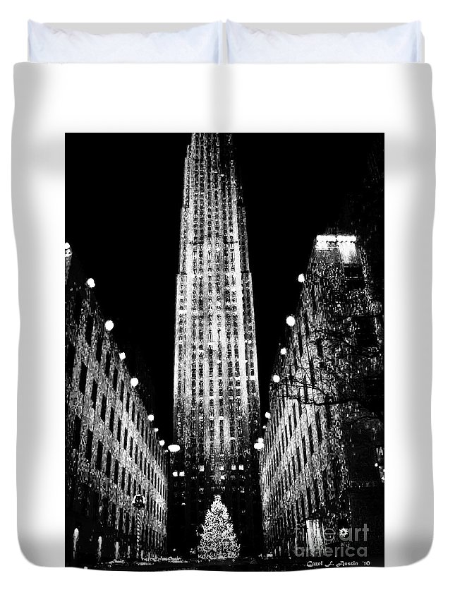 Fine Art Duvet Cover featuring the photograph Christmas In New York City by Carol F Austin