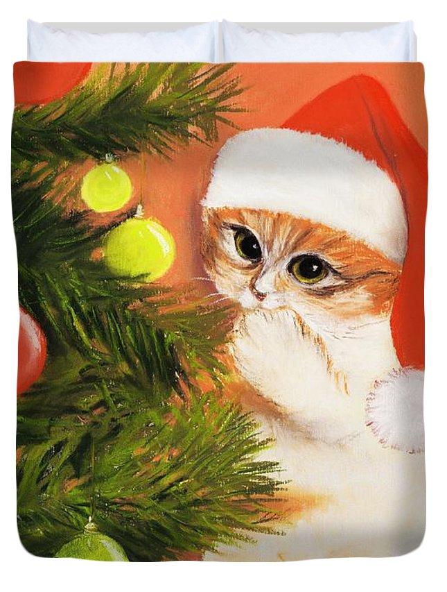 Malakhova Duvet Cover featuring the painting Christmas Kitty by Anastasiya Malakhova