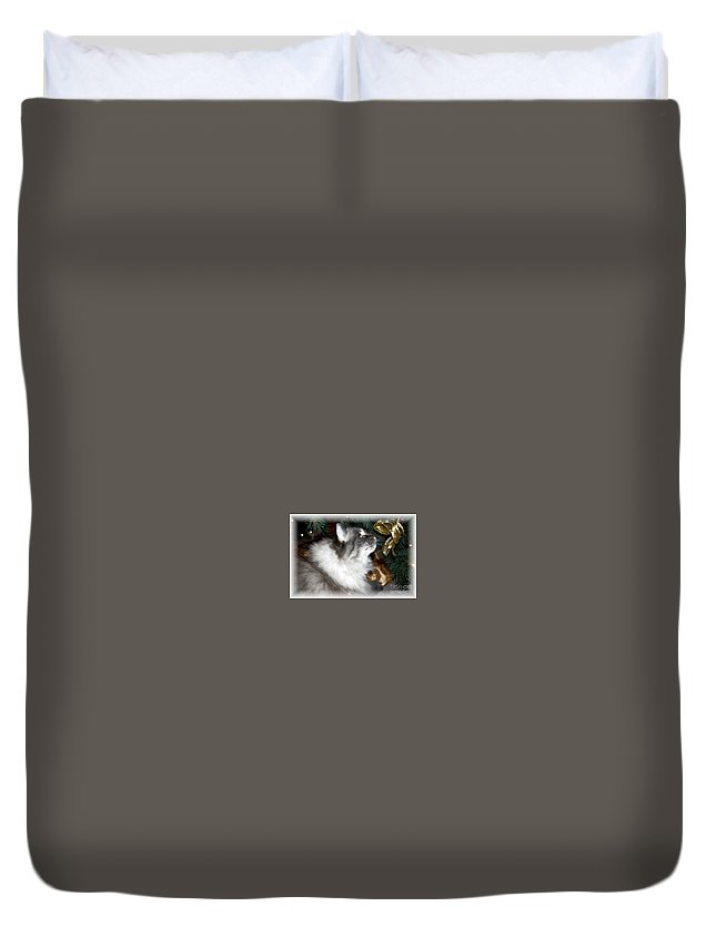 Christmas Duvet Cover featuring the photograph Christmas Kitty by Debbi Granruth