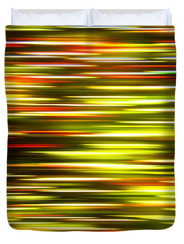 Abstract Duvet Cover featuring the photograph Christmas Lights Pan by Pam Elliott