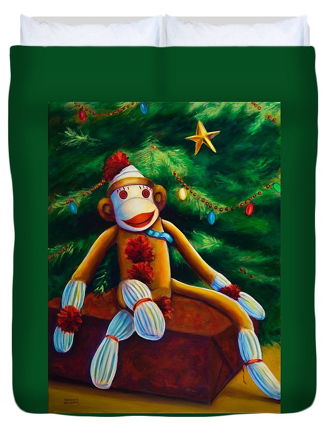 Sock Monkey Duvet Cover featuring the painting Christmas Made Of Sockies by Shannon Grissom