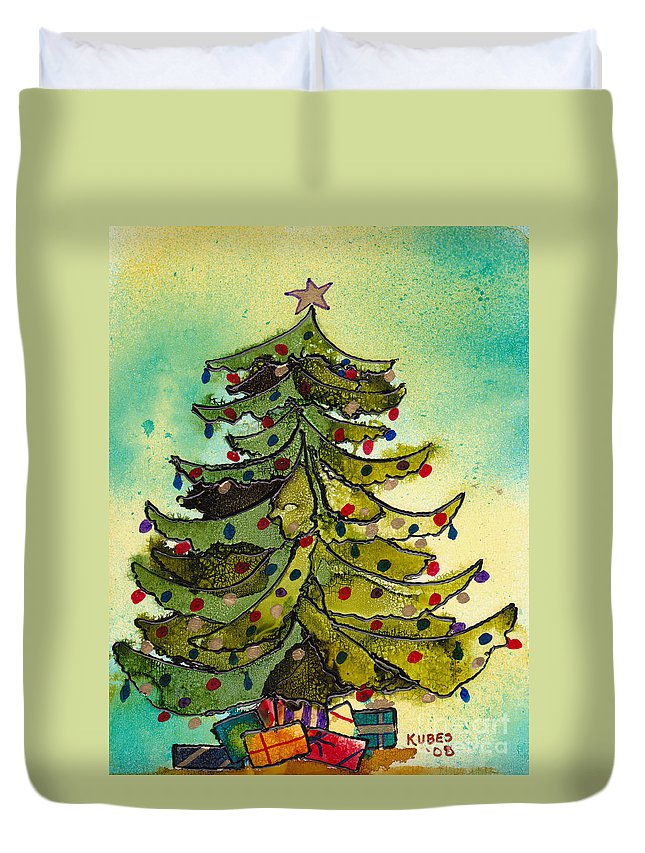 Christmas Duvet Cover featuring the painting Christmas Morning 2008 by Susan Kubes
