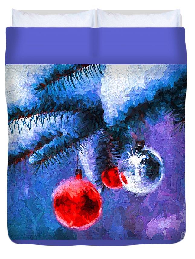 Christmas Duvet Cover featuring the digital art Christmas by Nabil REJAIBI