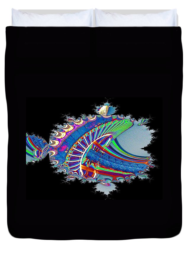 Seattle Duvet Cover featuring the digital art Christmas Needle In Fractal by Tim Allen