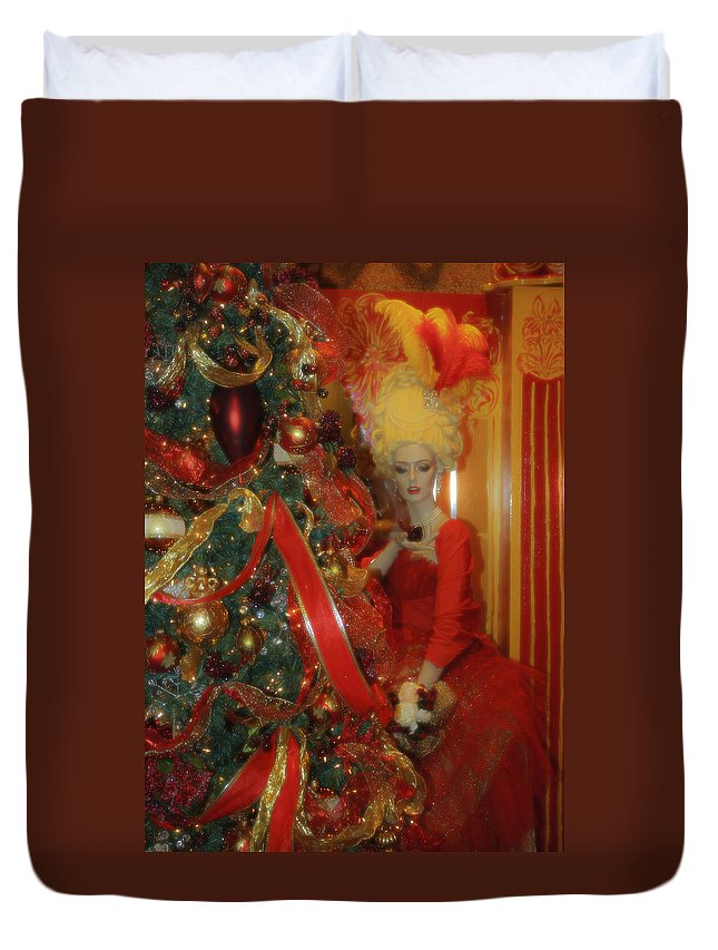 Christmas Duvet Cover featuring the photograph Christmas Parlor Fashions For Evergreens Event Hotel Roanoke 2009 by Teresa Mucha