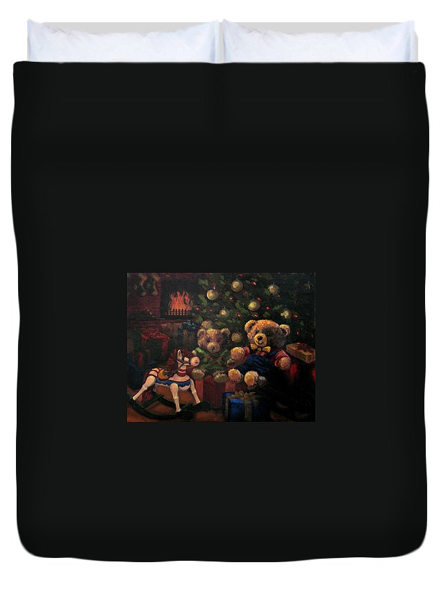 Christmas Duvet Cover featuring the painting Christmas Past by Karen Ilari