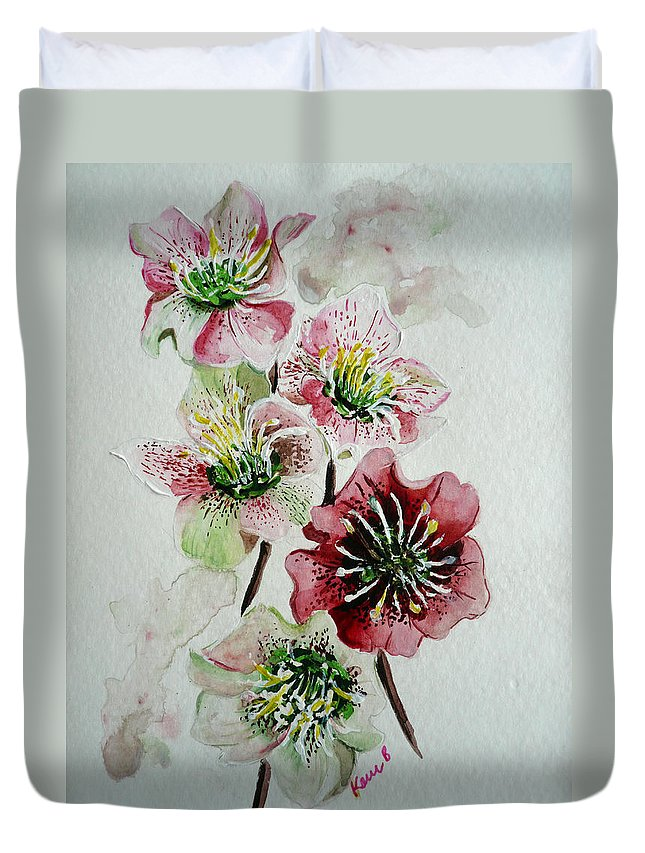 Floral Flower Pink Duvet Cover featuring the painting Christmas Rose by Karin Dawn Kelshall- Best