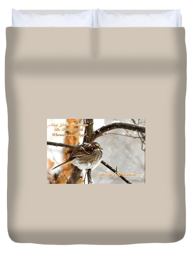 Christmas Duvet Cover featuring the photograph Christmas Sparrow - Christmas Card by Lois Bryan