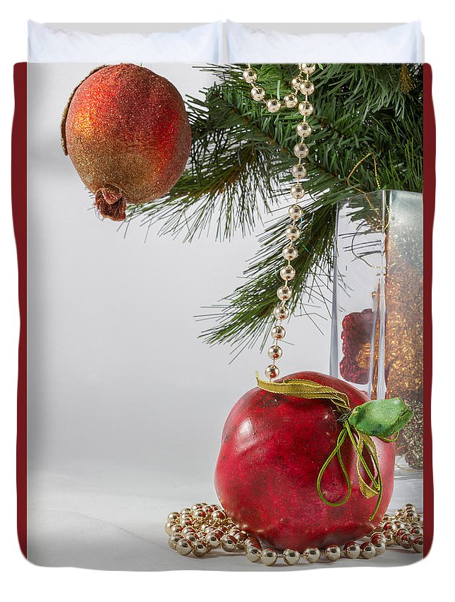 Christmas Duvet Cover featuring the photograph Christmas Tree Branch And Decoration In A Vase by Iordanis Pallikaras