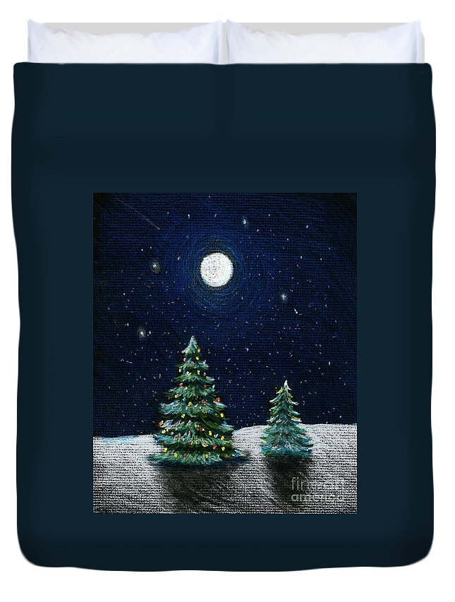Christmas Trees Duvet Cover featuring the drawing Christmas Trees In The Moonlight by Nancy Mueller