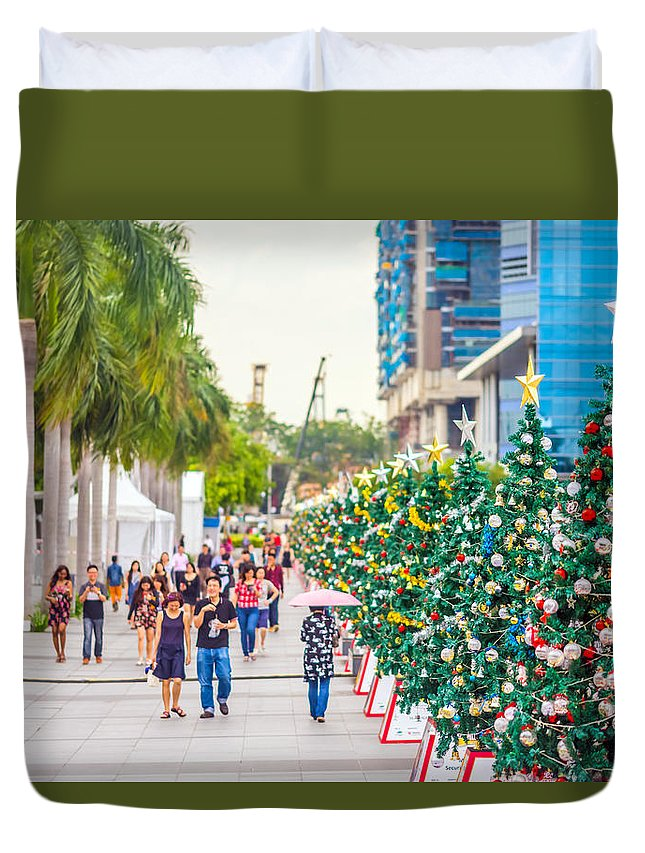 Christmas Duvet Cover featuring the photograph Christmas Trees by Jijo George