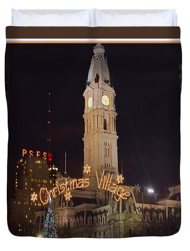 Art For Sale Duvet Cover featuring the photograph Christmas Village by Sonali Gangane