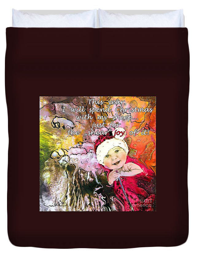 Acrylics Duvet Cover featuring the painting Christmas With My Sheep by Miki De Goodaboom