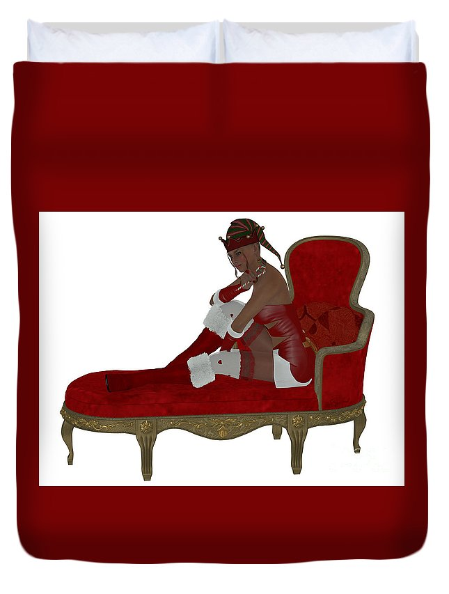 Girl Duvet Cover featuring the painting Christmas Woman On Couch by Corey Ford